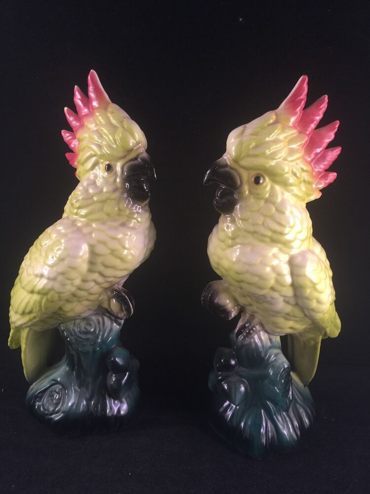 Vintage Pair Of Colorful Cockatiel Bird Figurines Ebay