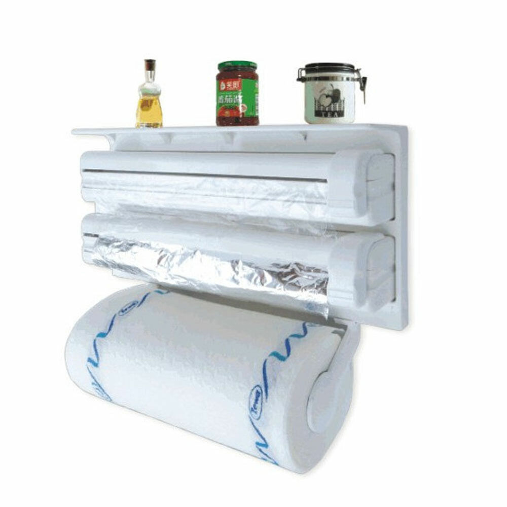 kitchen paper dispenser triple cling film wrap aluminium foil roll towel holder ebay. Black Bedroom Furniture Sets. Home Design Ideas