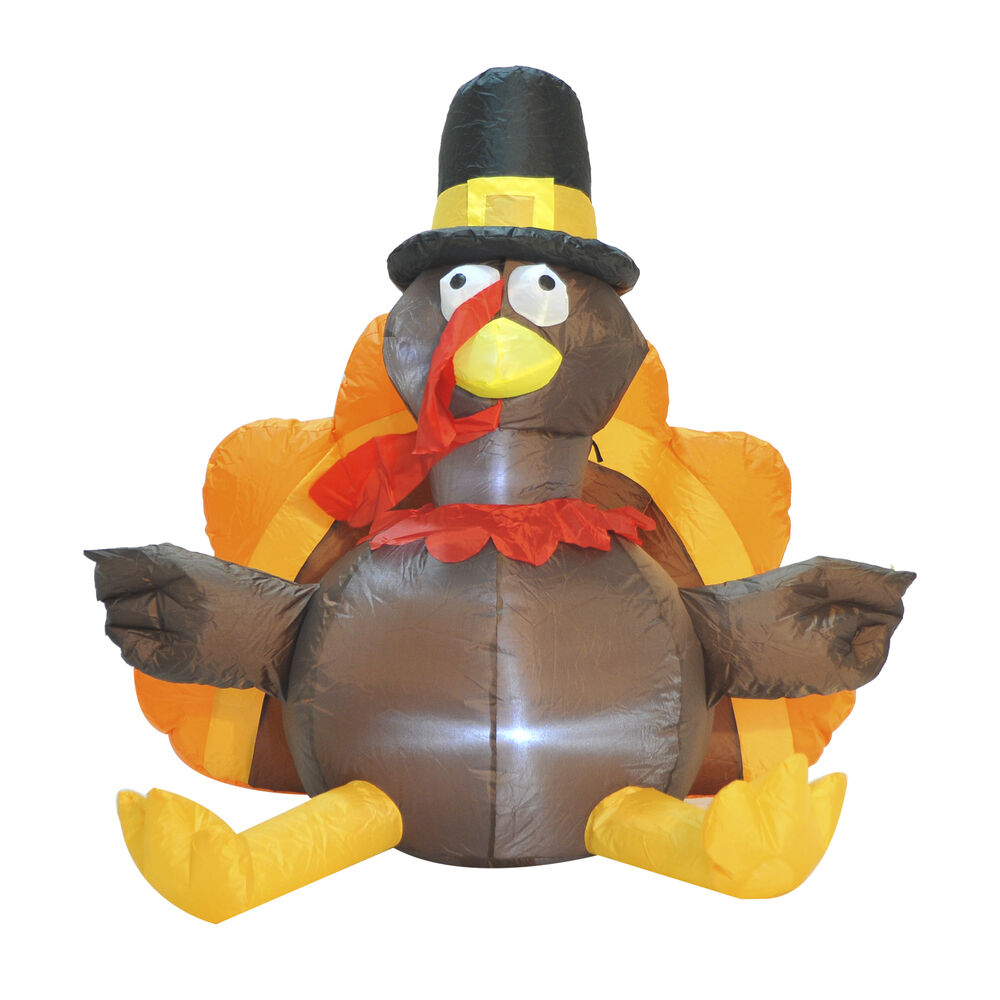 Homcom ft airblown thanksgiving inflatable lighted turkey