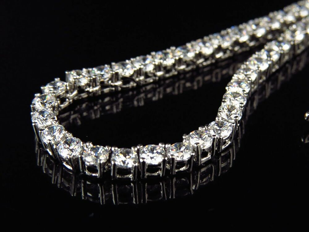 Mens White Gold Finish Sterling Silver Lab Diamond 1 Row ...