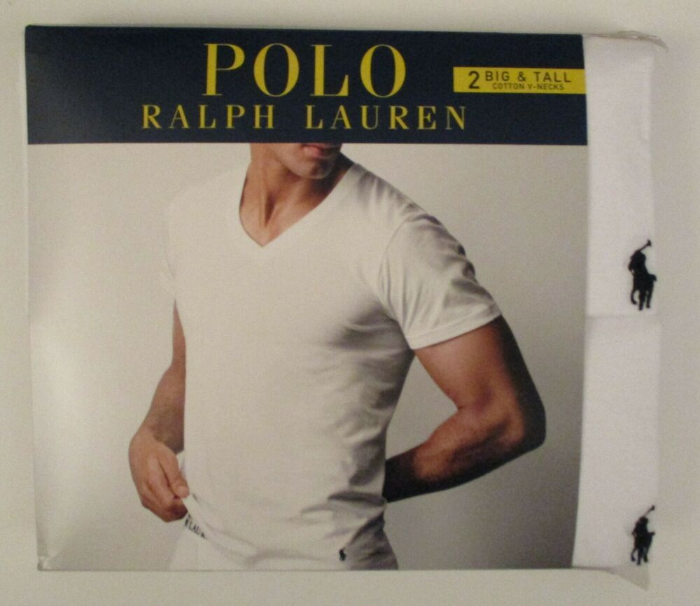 69b6ca6b59c4c3 2 POLO RALPH LAUREN MENS 2XL 3XL 4XL COTTON WHITE V NECK T-SHIRTS  UNDERSHIRTS