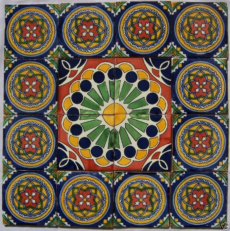 W187 16 clay talavera mosaic mural mexican 4x4 tiles ebay for Crossing the shallows tile mural
