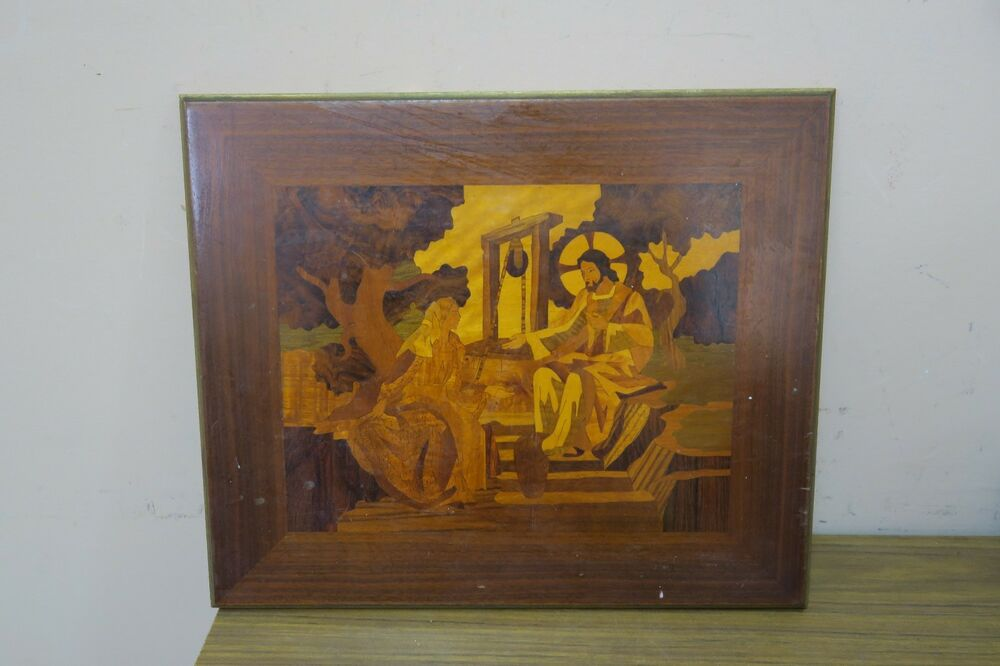 Wood Inlay Wall Decor : Vintage inlaid marquetry wood inlay picture quot