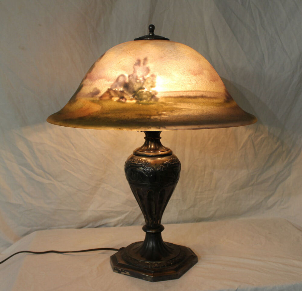 Large Antique Reverse Painted Pairpoint Scenic Table Lamp