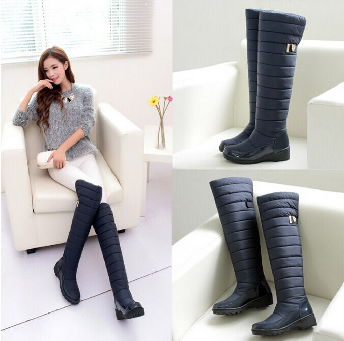 Winter New Women's Thicken Warm Over The Knee High Snow Boots ...