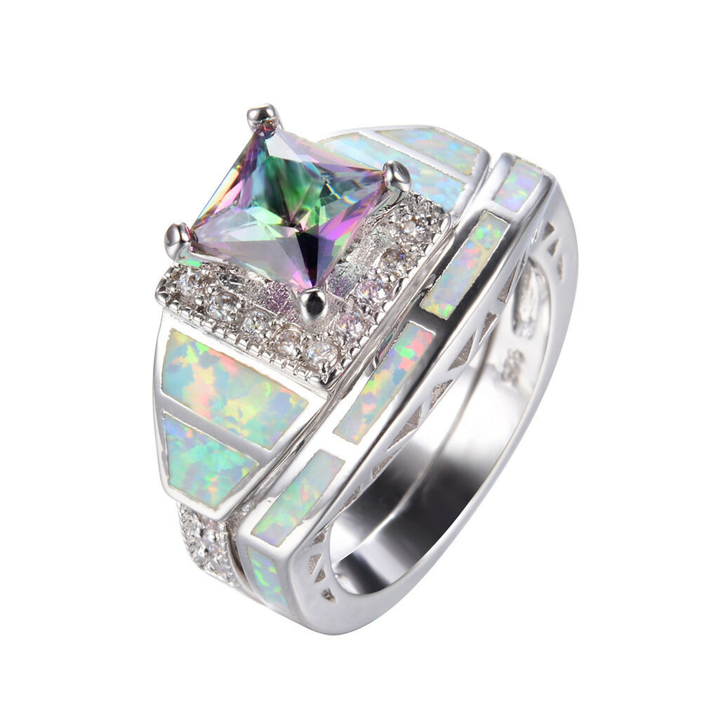 Mystic Rainbow Topaz & Fire Opal Rings Set Silver Plated