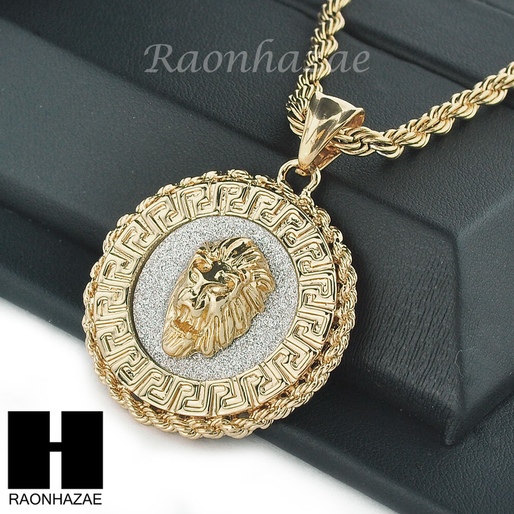 Mens Stainless Steel Lion Face Medallion Pendant 24 Quot Rope