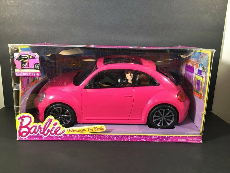 Nib Barbie Doll Car Voltswagon The Beetle Bug Pink W Doll