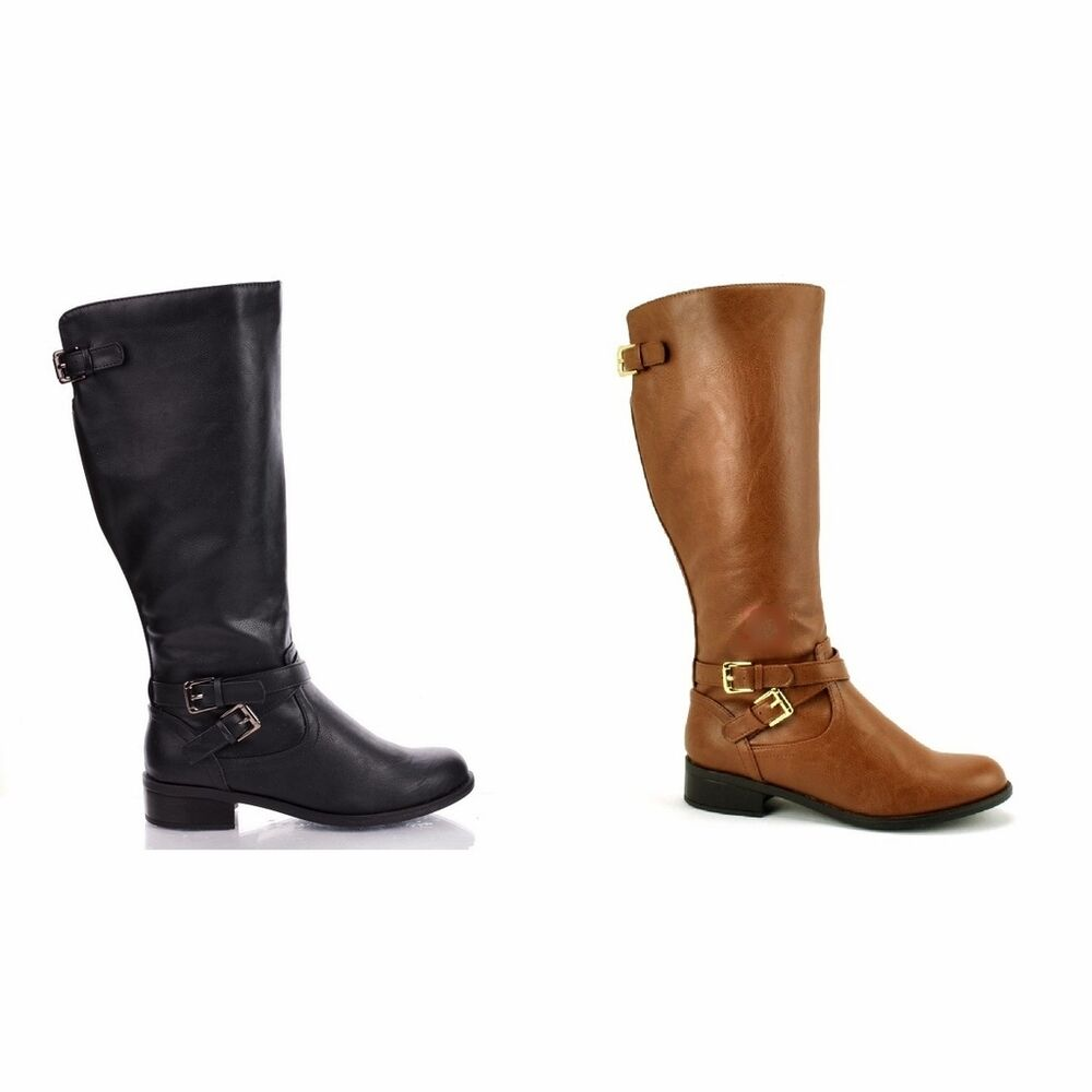 s comfy faux leather knee high buckle