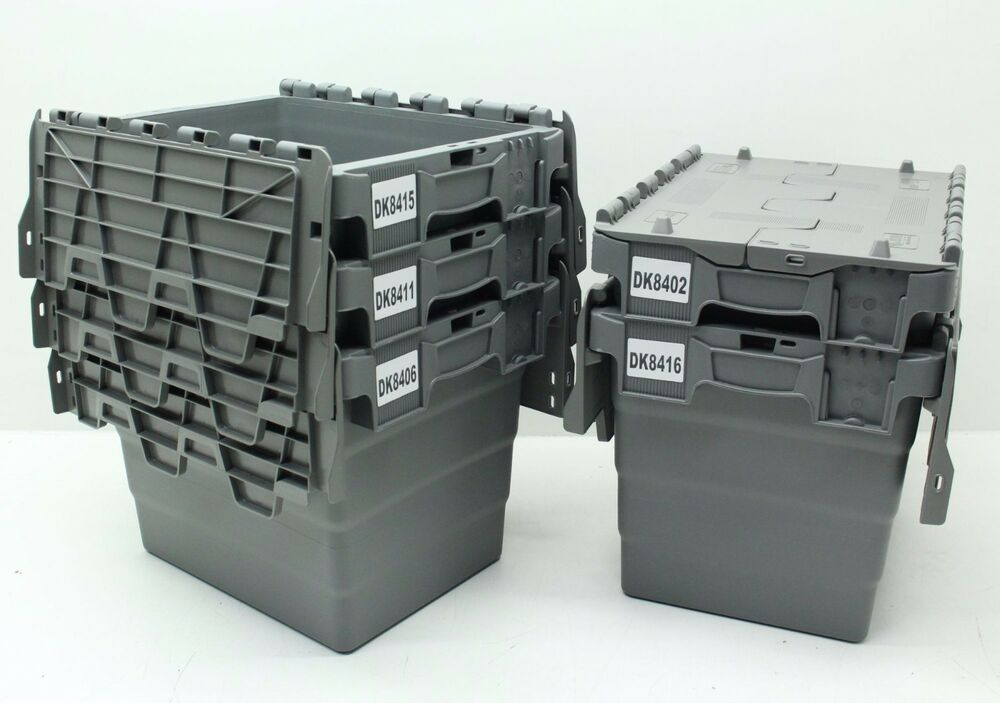 Used 5x Heavy Duty Plastic Storage Box Boxes With Folding