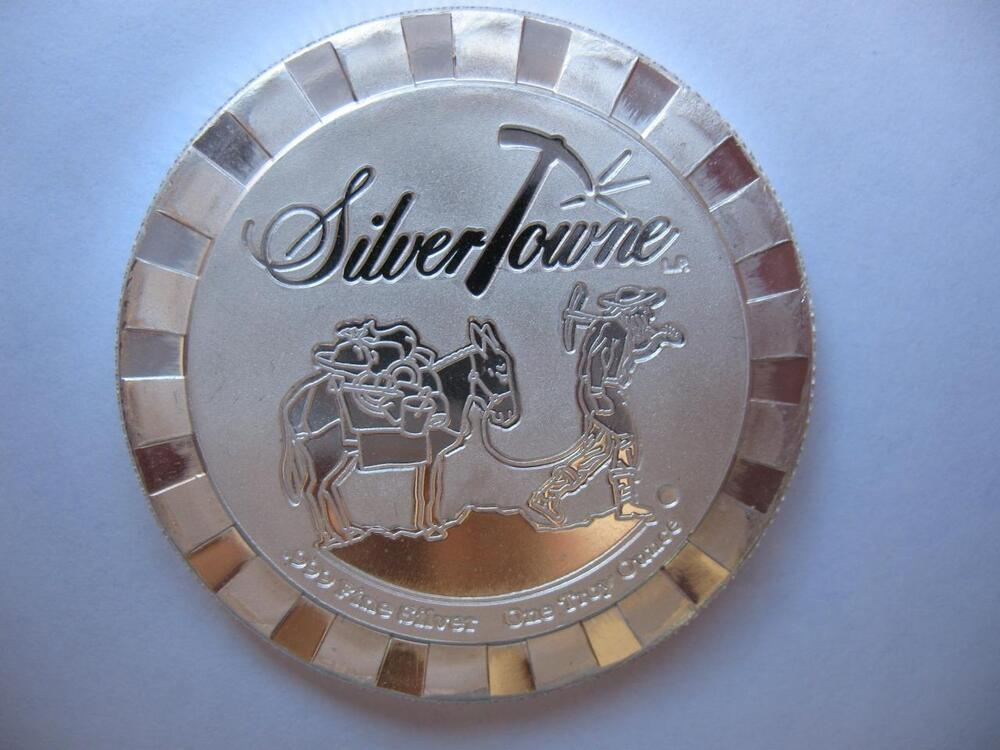 1 Oz 999 Silver Stackable Silvertowne Prospector Poker