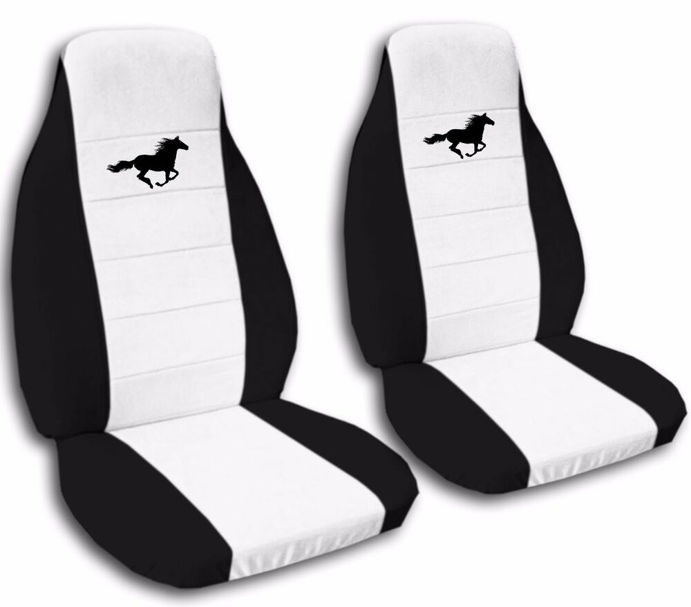 front and rear 2003 ford mustang gt seat covers black and white ebay. Black Bedroom Furniture Sets. Home Design Ideas