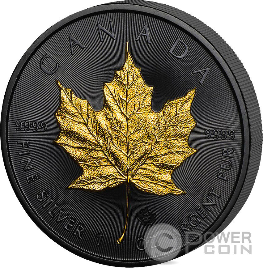 Golden Enigma Maple Leaf Black Ruthenium 1 Oz Silver Coin