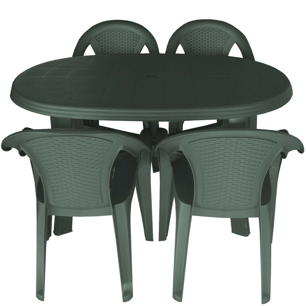 gartenm bel sitzgarnitur gartentisch 136x86cm 4x bistrost hle stapelbar gr n ebay. Black Bedroom Furniture Sets. Home Design Ideas