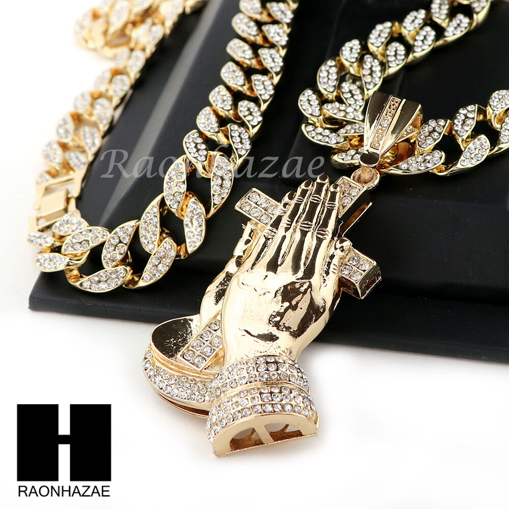 "Hip Hop 14k Gold Plated Praying Hands Pendant 30"" Iced Out"