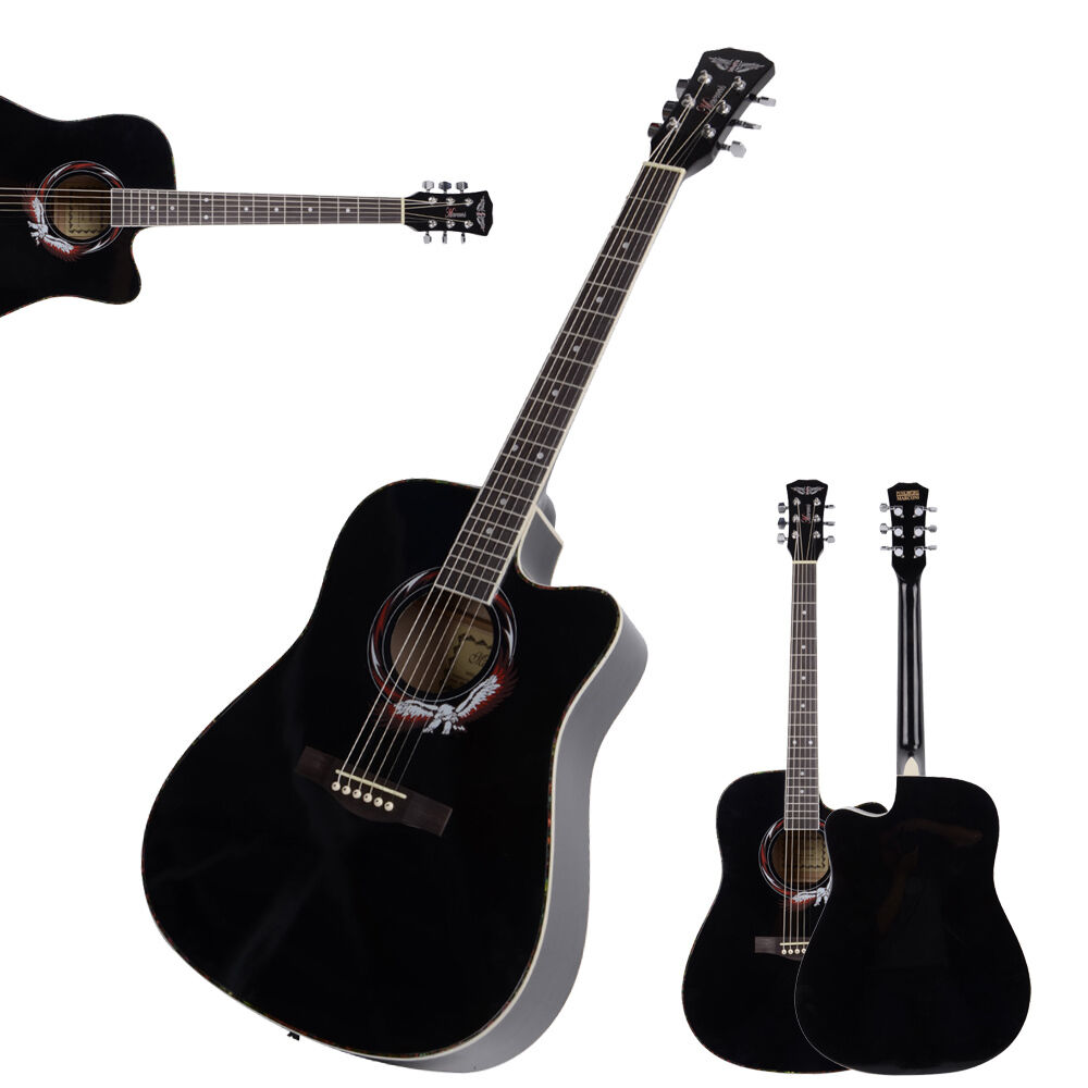 new 41 inch adult size 20 frets cutaway acoustic guitar black for beginner ebay. Black Bedroom Furniture Sets. Home Design Ideas