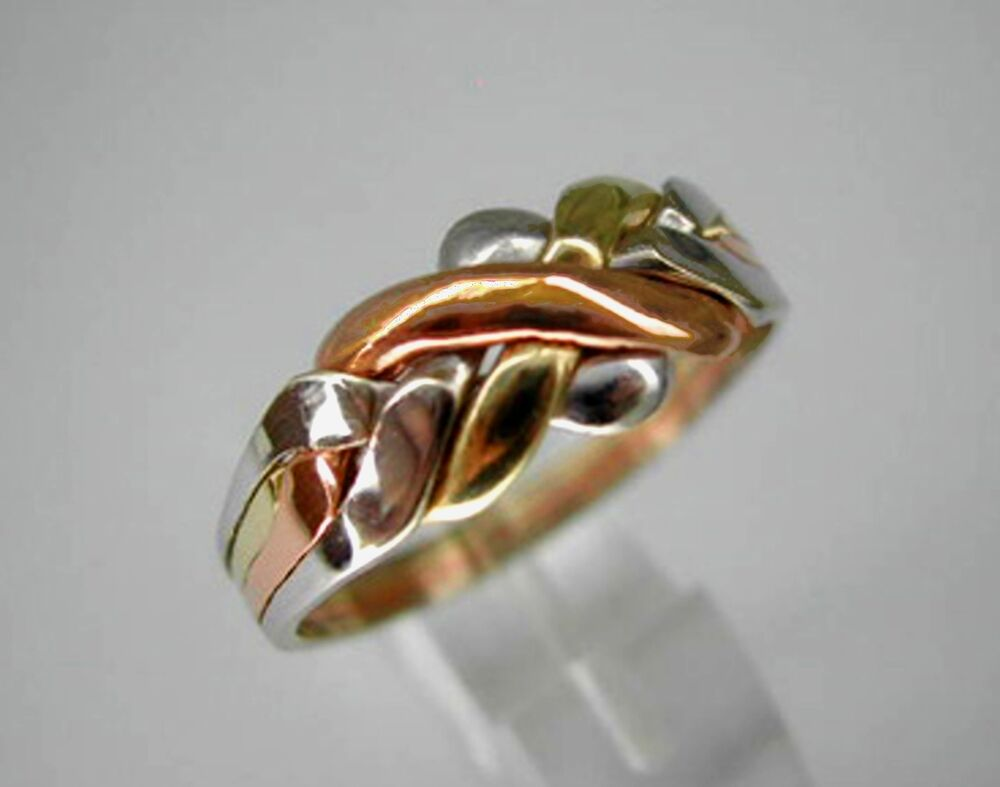 Tri Color Gold 14k Solid 4 Band Turkish Puzzle Ring Ship
