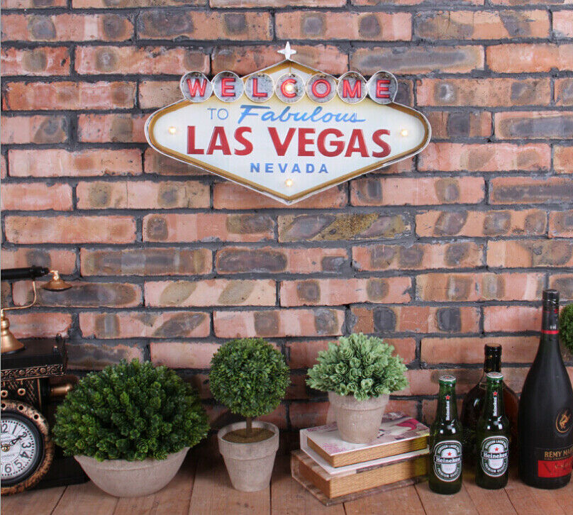 Vintage led light metal signs bar welcome to las vegas pub