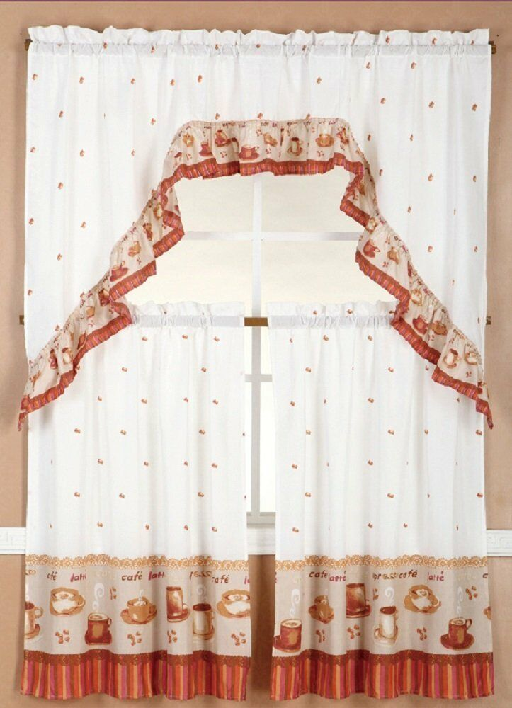 3 Piece Kitchen Cafe Curtain Tier And Valance Swag Set