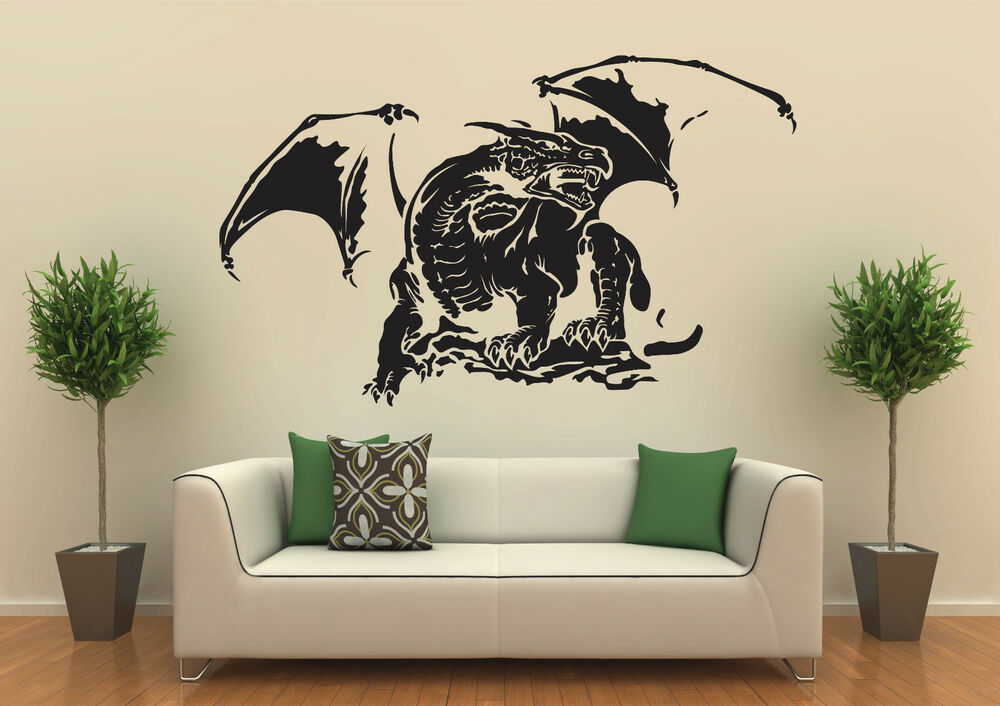 wandtattoo drache nr 4 gr e 100x60cm ebay. Black Bedroom Furniture Sets. Home Design Ideas