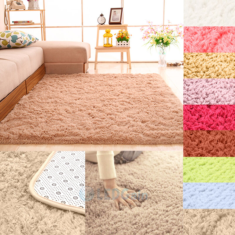 Fluffy Rugs Anti-Skid Shaggy Area Rug Dining Room Home Bedroom Carpet Floor Mat : eBay