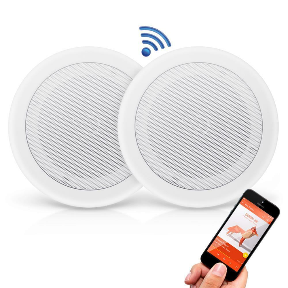 New Dual 8 Bluetooth Ceiling Wall Speakers 2 Way Flush