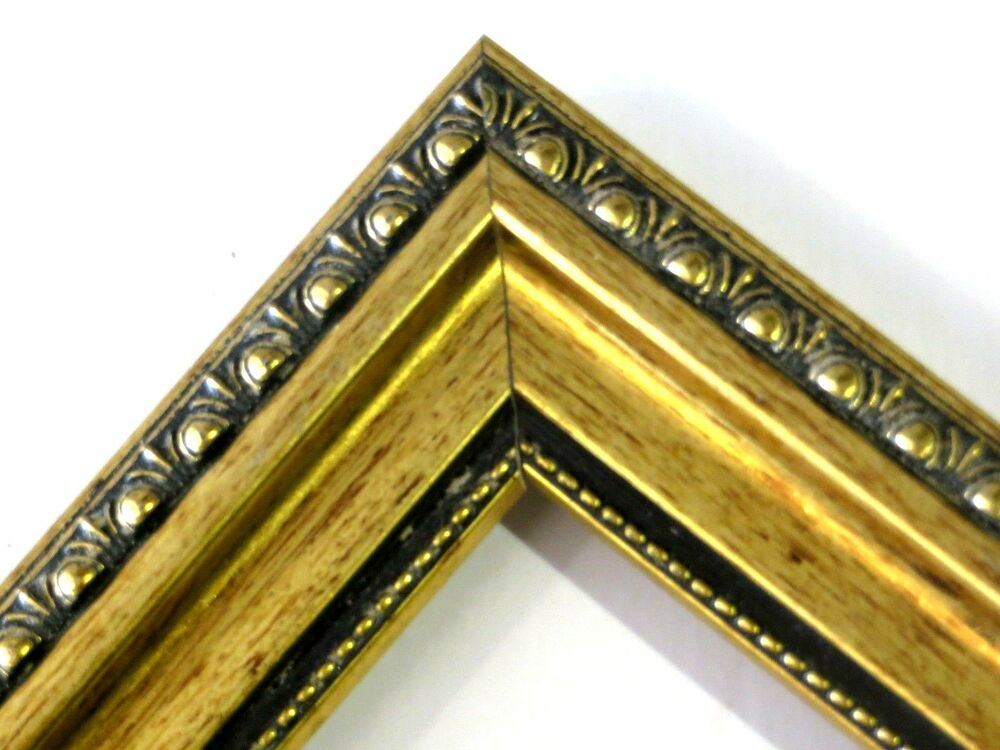 """1 3/8"""" Gold Patina Ornate Solid Wood Picture Frame-Custom ..."""