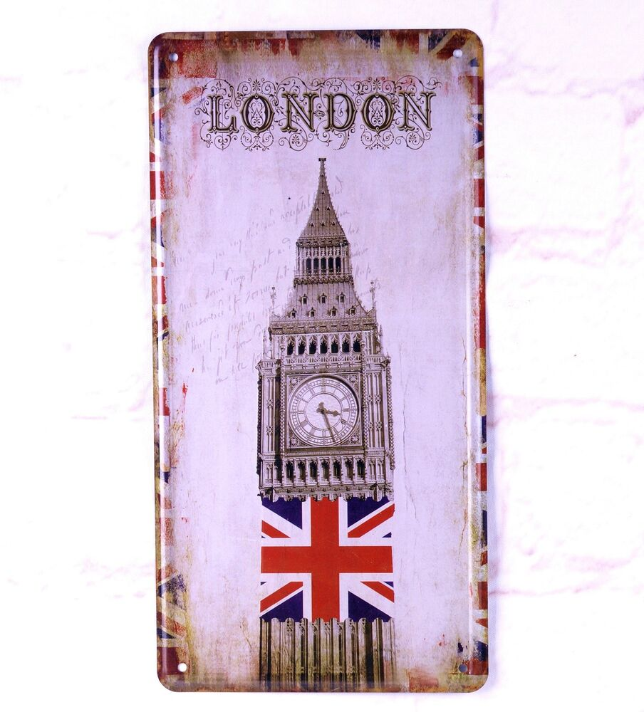 Metal Signs For Home Decor: Art Antique License Plate London Flags Metal Tin Signs Bar