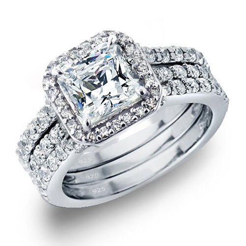 Women's 3 28 CTW Princess Cut 925 Sterling Silver CZ Wedding Engagement Ring