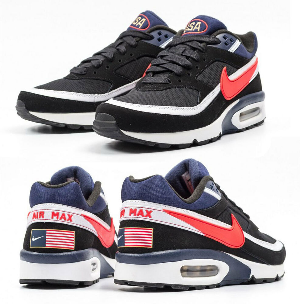 new nike air max bw usa olympic team running shoes mens black crimson 11 13 ebay. Black Bedroom Furniture Sets. Home Design Ideas