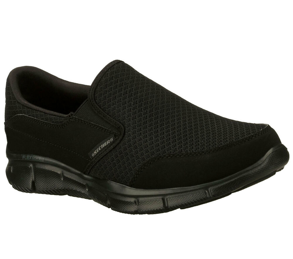 a689a222f6ee Details about 51361 EW Wide Width Black Skechers shoe Men New Memory Foam  Comfort Slipon Dress