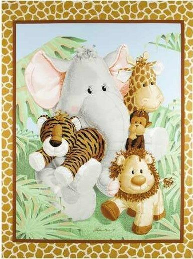 NEW LARGE JUNGLE BABIES ANIMALS PANEL FOR QUILTS HOME