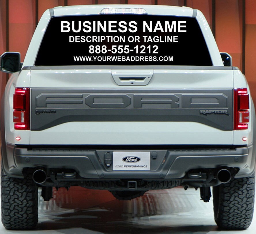 Custom Sign Rear Window Business Lettering Ad Car Truck