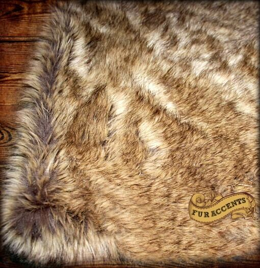 Light Brown Wolf Coyote Bear Skin Faux Fur Area Rug