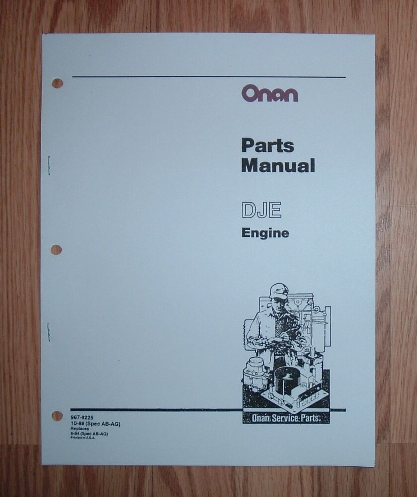 Onan Engine Parts Catalog : Onan dje engines parts catalog manual ebay