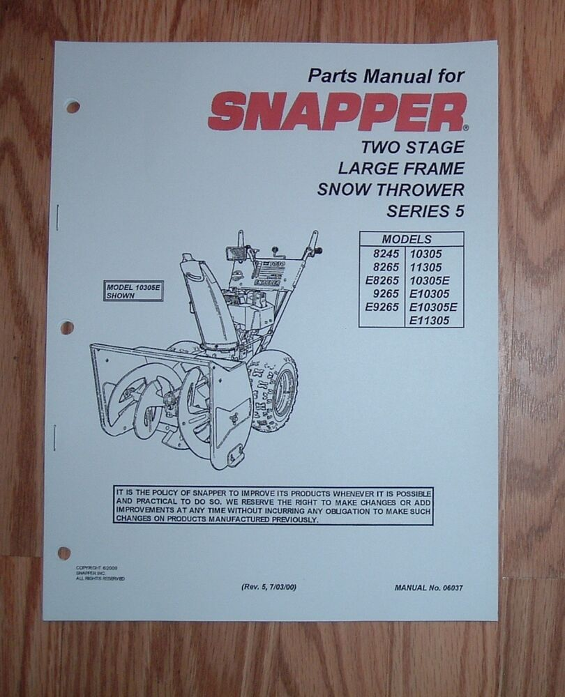 snapper 8265 snow thrower manual