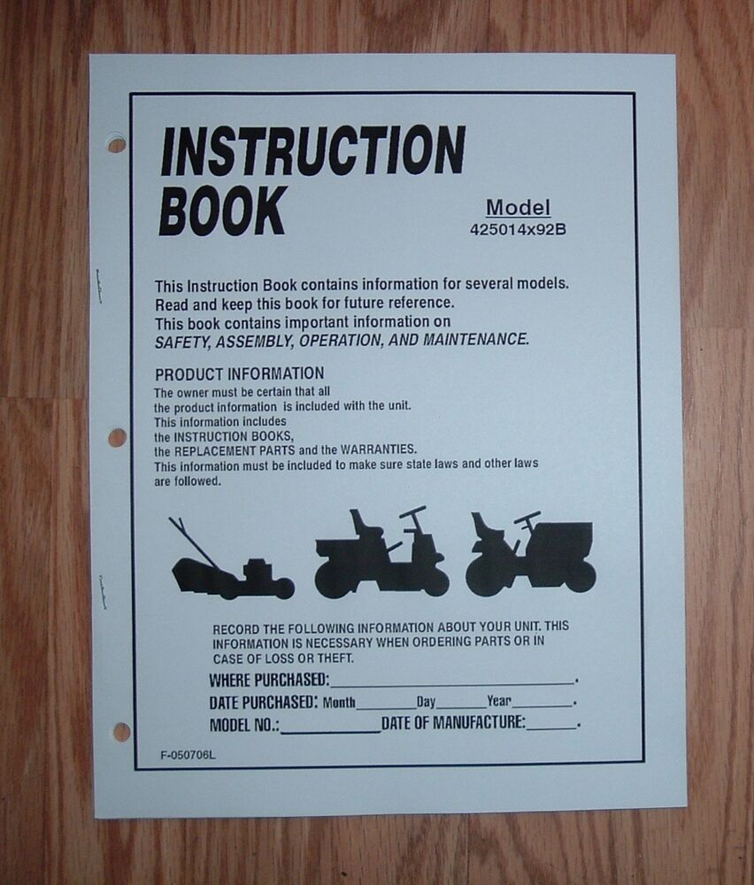 Murray 15 5 Hp Lawn Tractor 425014x92b Owners Manual W