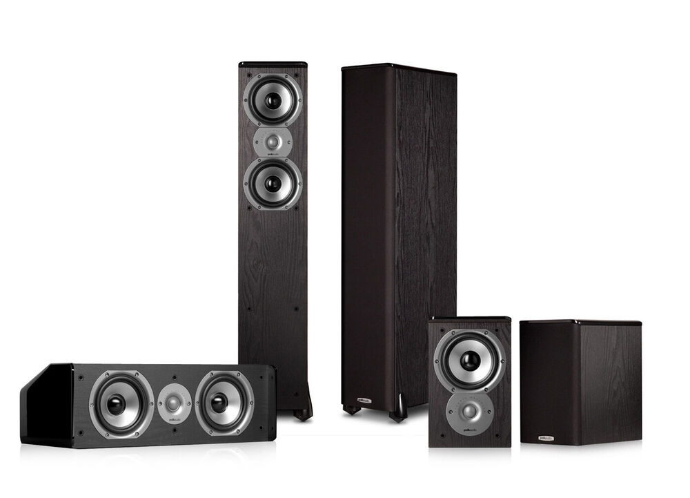 polk audio tsi300 5 0 home theater speaker package black ebay. Black Bedroom Furniture Sets. Home Design Ideas