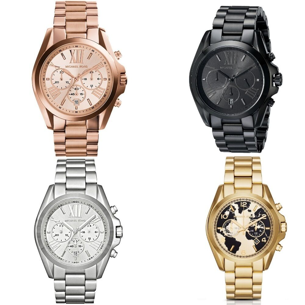 michael kors ladies 39 bradshaw series oversize chronograph designer watch ebay. Black Bedroom Furniture Sets. Home Design Ideas