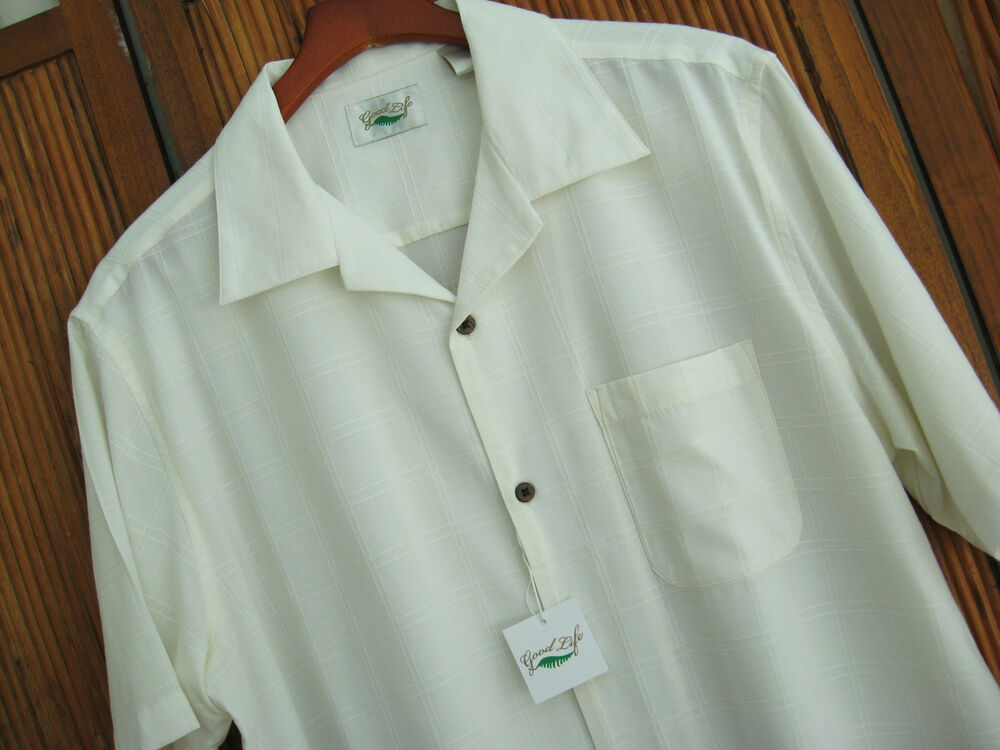 Nwt mens silk camp shirt ivory wedding casual beach plaid for Mens ivory dress shirt wedding