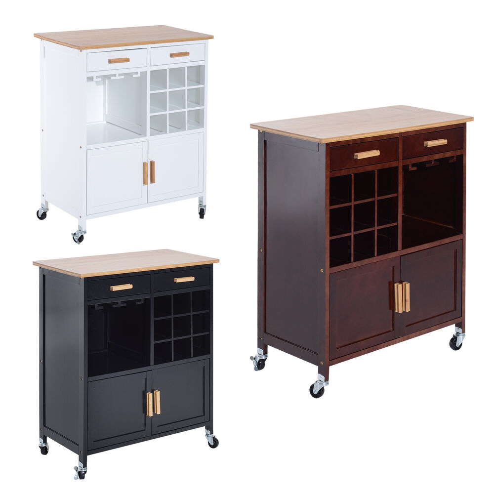 Rolling Kitchen Trolley Serving Cart Wood Storage Cabinet