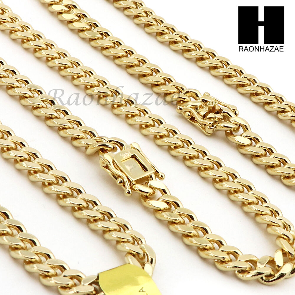 14k gold finish heavy 6mm miami cuban link chain necklace. Black Bedroom Furniture Sets. Home Design Ideas