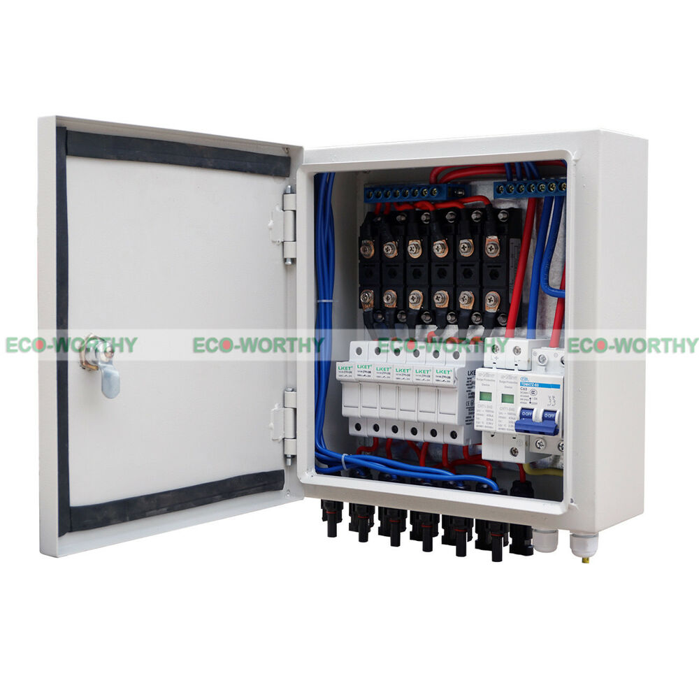 6 String 60a Solar Combiner Box 10a Circuit Breaker  U0026 Lighting Surge Protection
