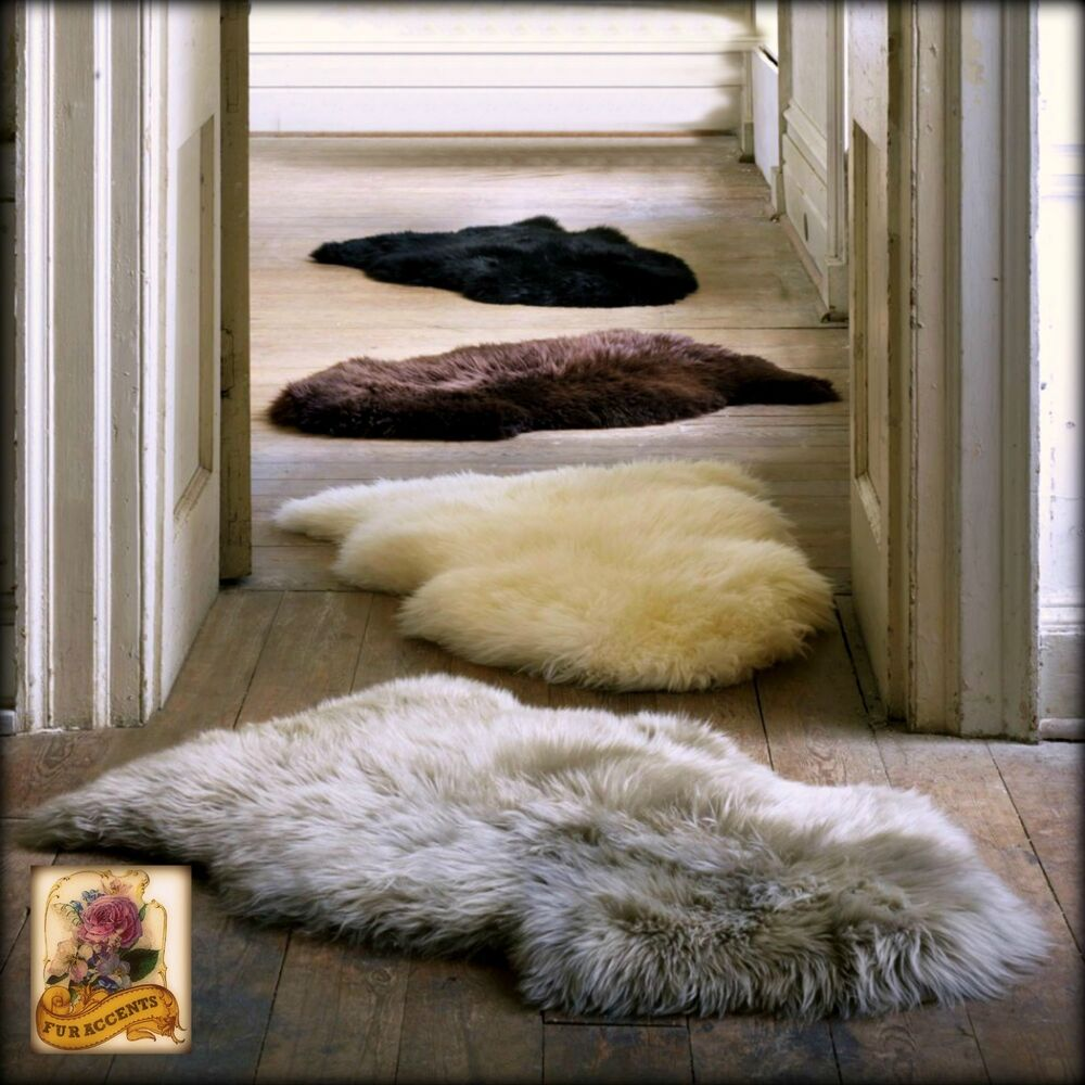 Thick Shaggy Shag Sheepskin Rug Faux Fur Bear Skin Accent