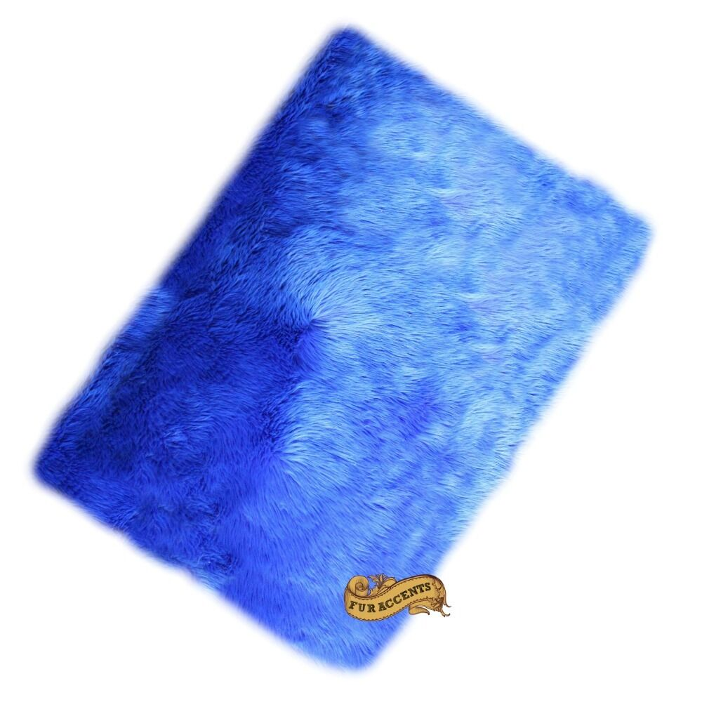blue shag rug fur accents faux fur accent rug blue shag 2 x 4 ebay 11071