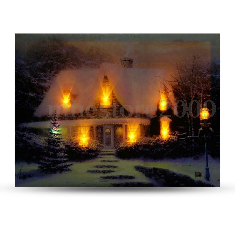 40x30cm LED Light Christmas Houses Canvas Arts Picture Printing Home Wall Decor eBay