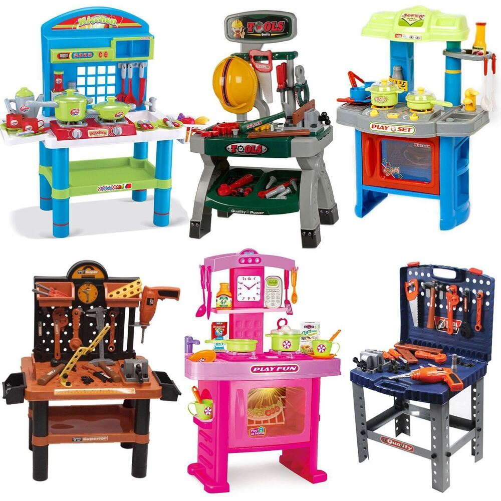 Toys For Work : Children s kids power tools work bench kitchen cooking