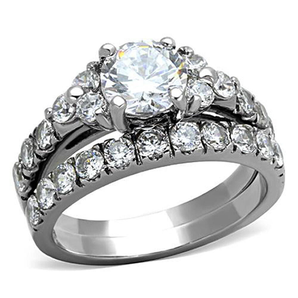 2.50 Ct Round Cut CZ Silver Stainless Steel Wedding Ring