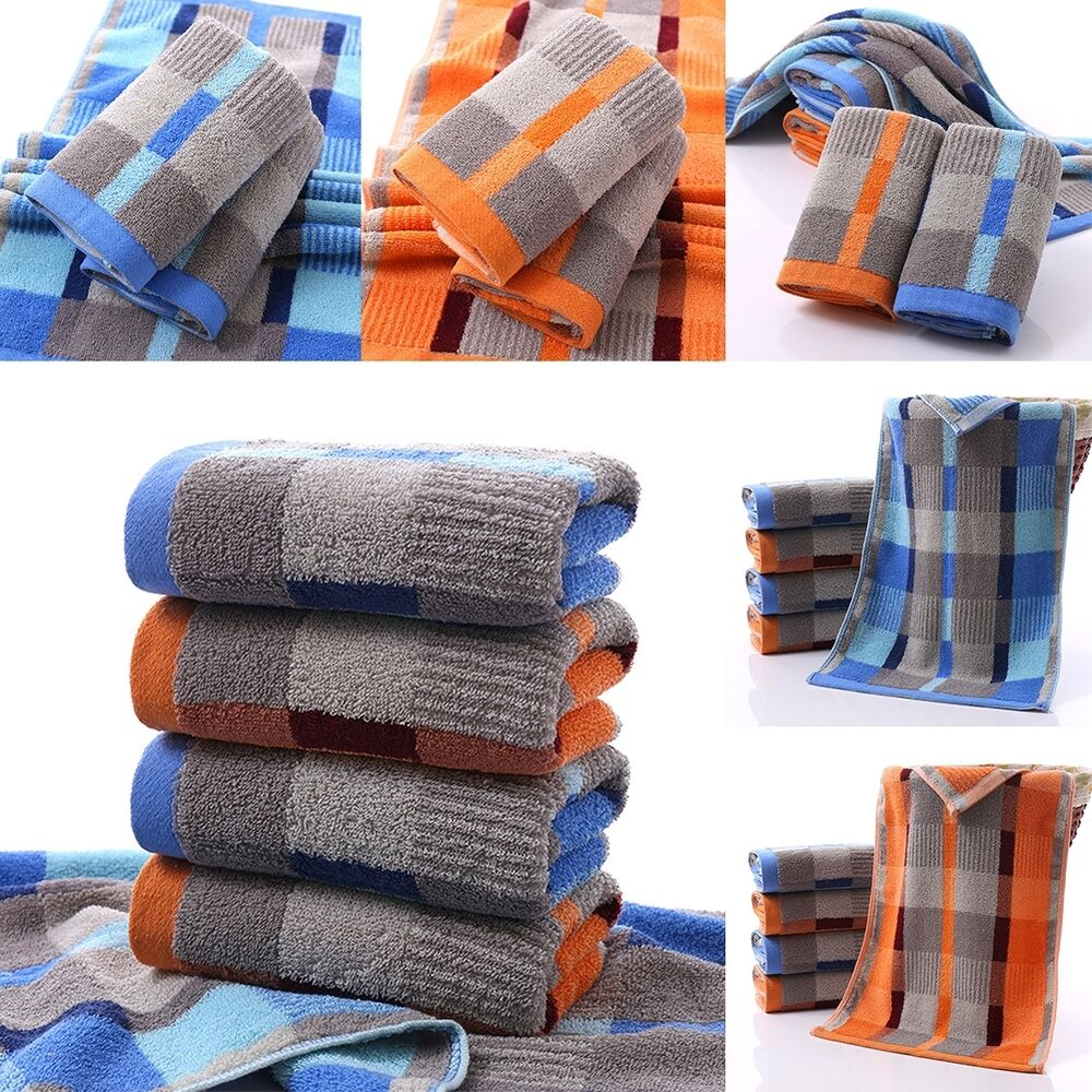 Hand Towels Bathroom: LUXURY TOWELS 100% COTTON LARGE CHECK HAND BATH BATHROOM
