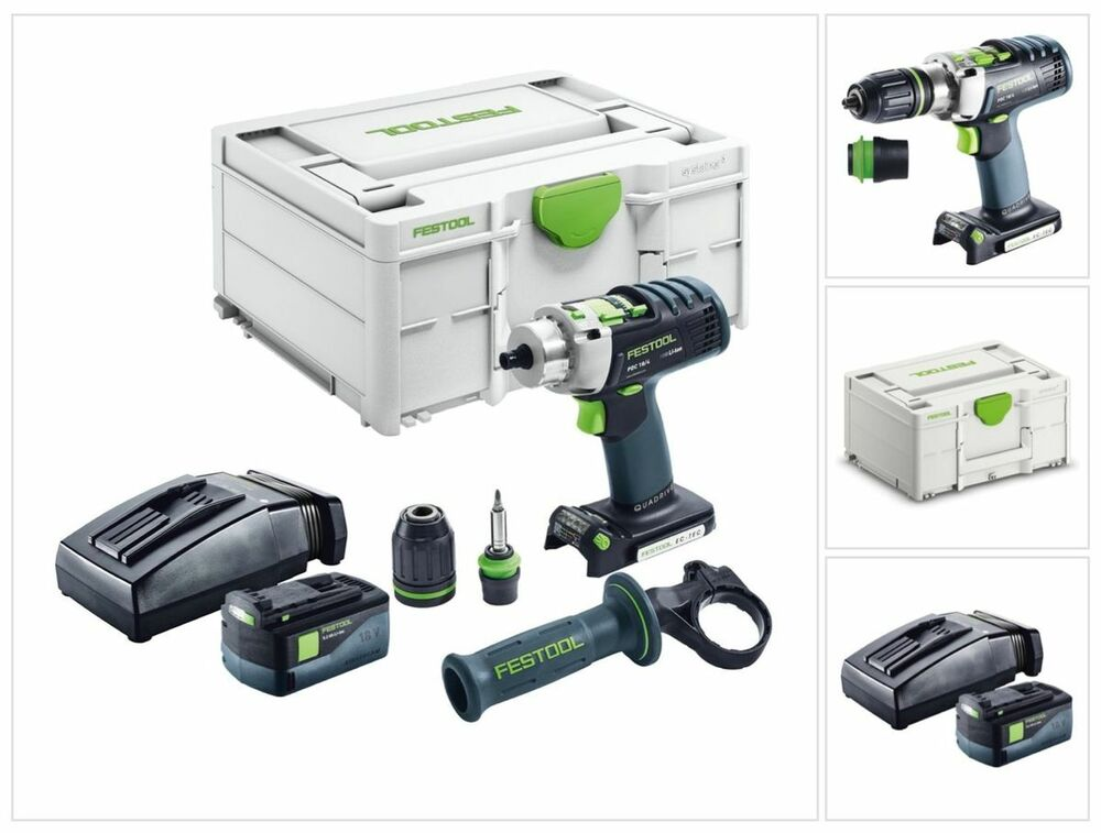 festool pdc 18 4 li starter akku schlagbohrschrauber quadrive im set ebay. Black Bedroom Furniture Sets. Home Design Ideas